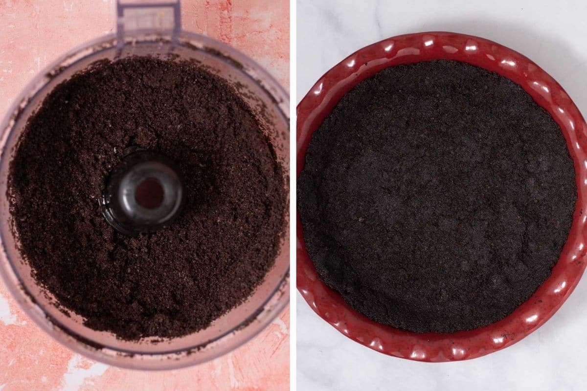Pulsed oreos in food processor and oreo crust in red pie dish