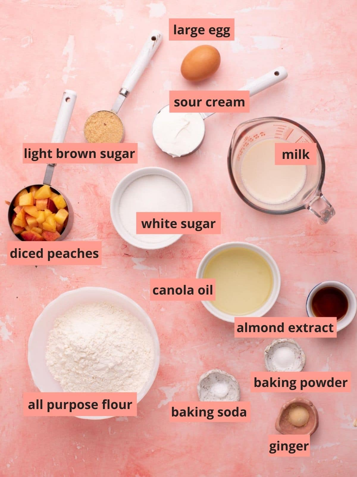 Labeled ingredients used to make peach muffins