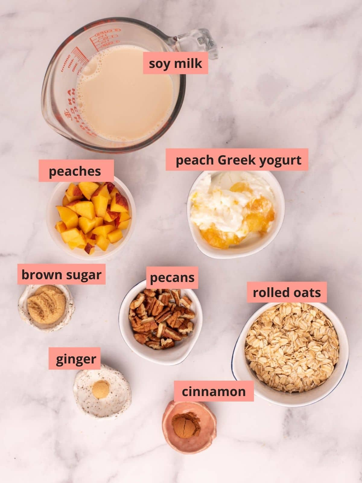 Labeled ingredients used to make peach overnight oats