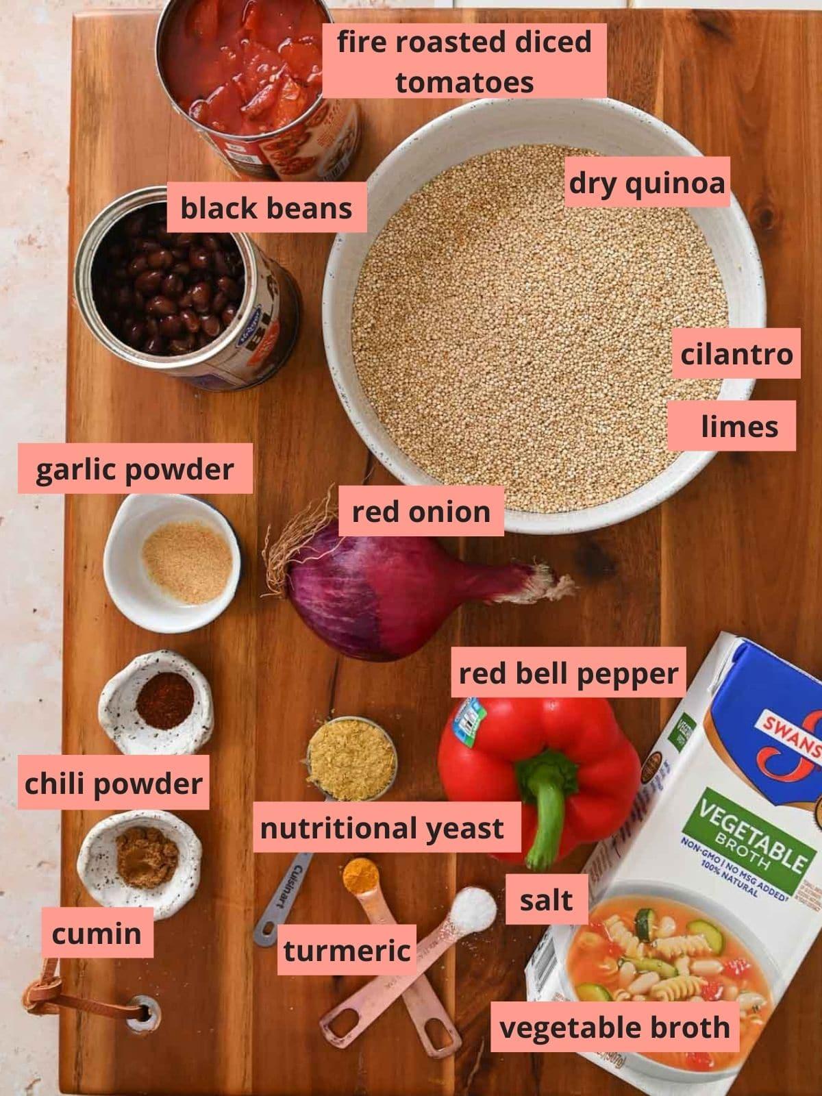 مواد مورد استفاده در تهیه سالاد کینوا را برچسب بزنید