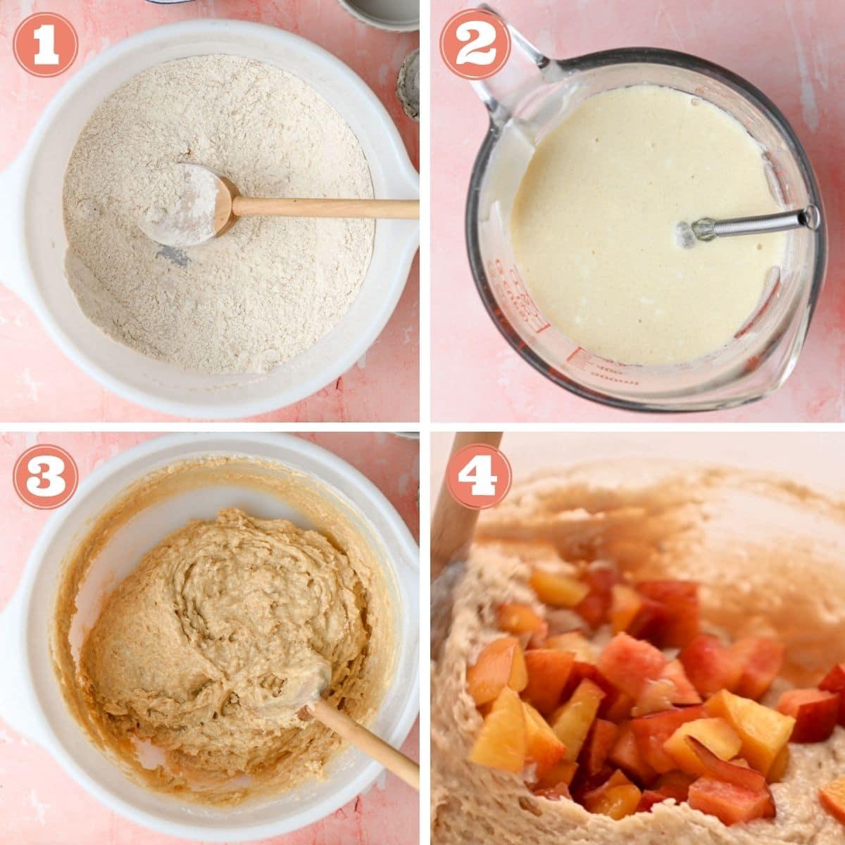 Steps 1 through 4 to make peach muffins