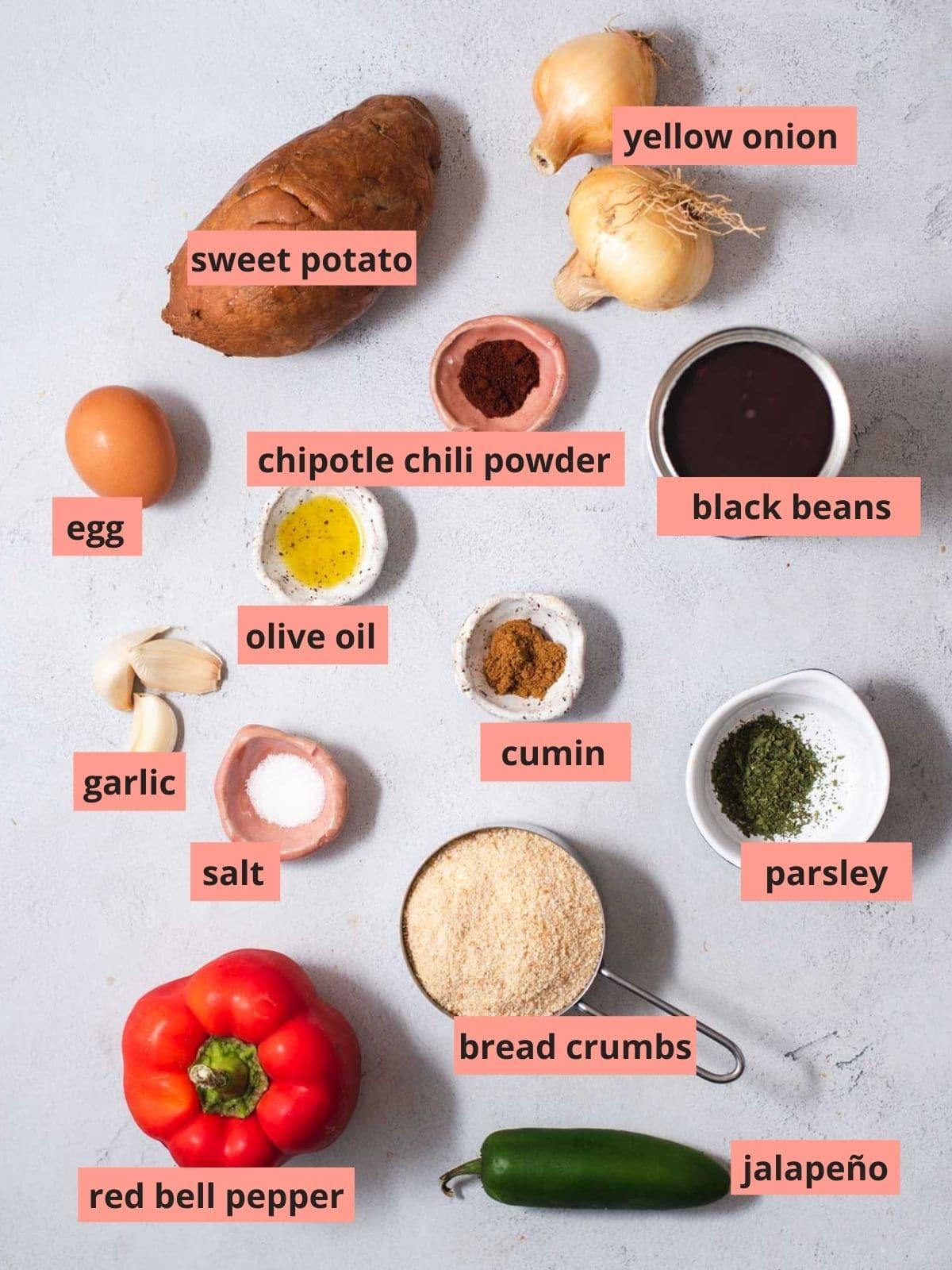Labeled ingredients used to make black bean burgers