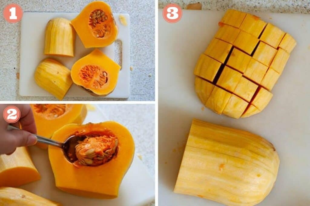 Steps showing how to cut a butternut squash
