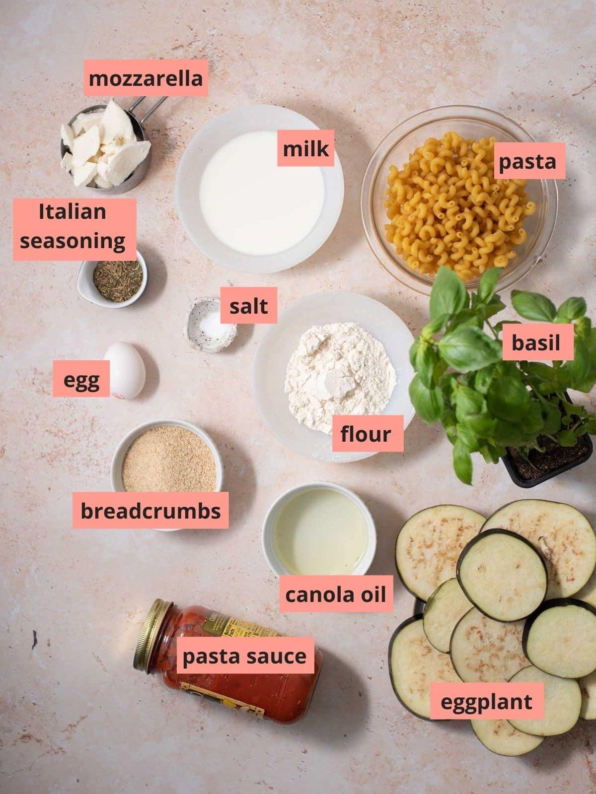 Labeled ingredients used to make eggplant bake