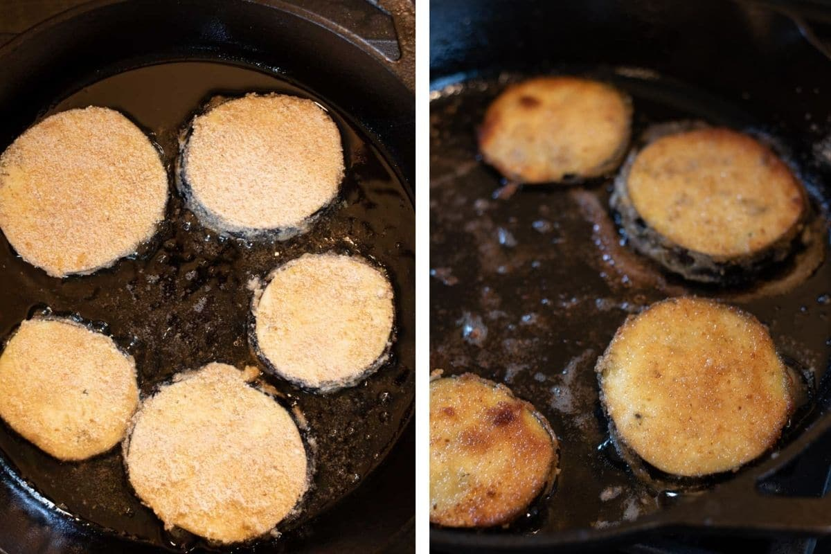 Eggplant in a black frying pan before and after flipping