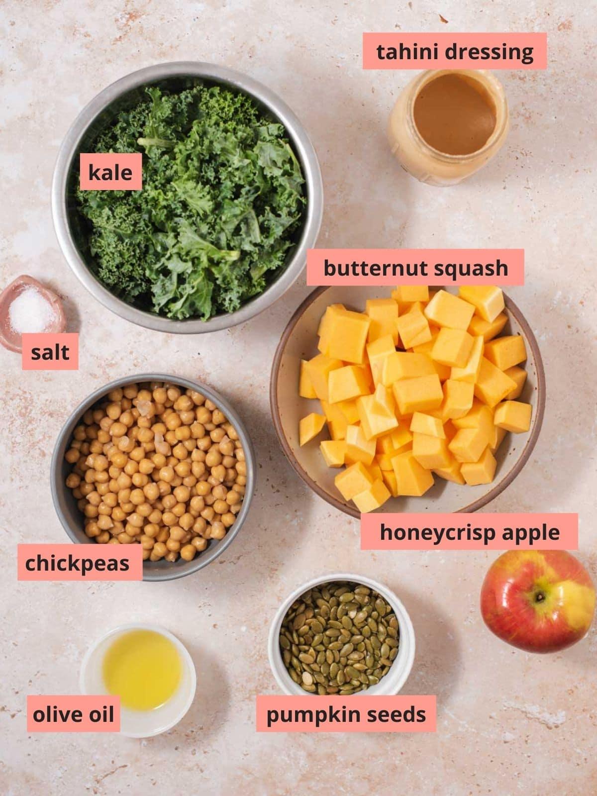 Labeled ingredients used to make kale salad