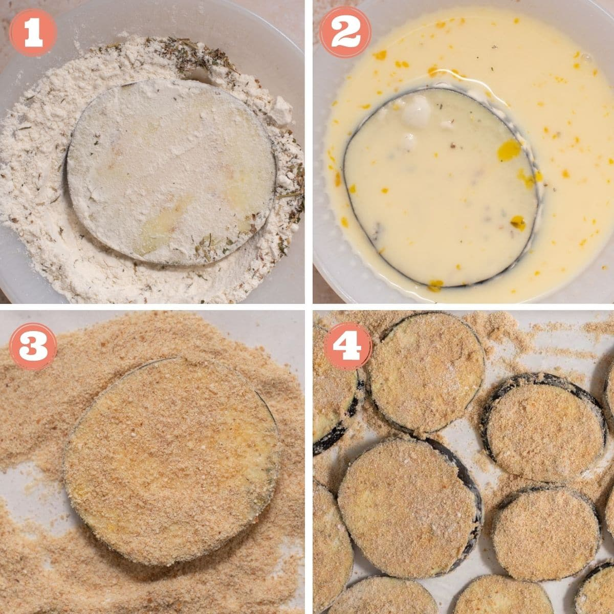 Steps 1 through 4 to bread eggplant