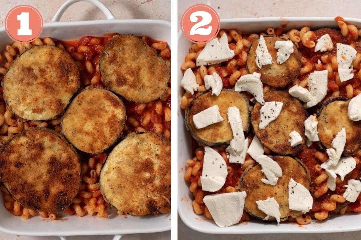 Steps 1 and 2 showing how to assemble eggplant bake