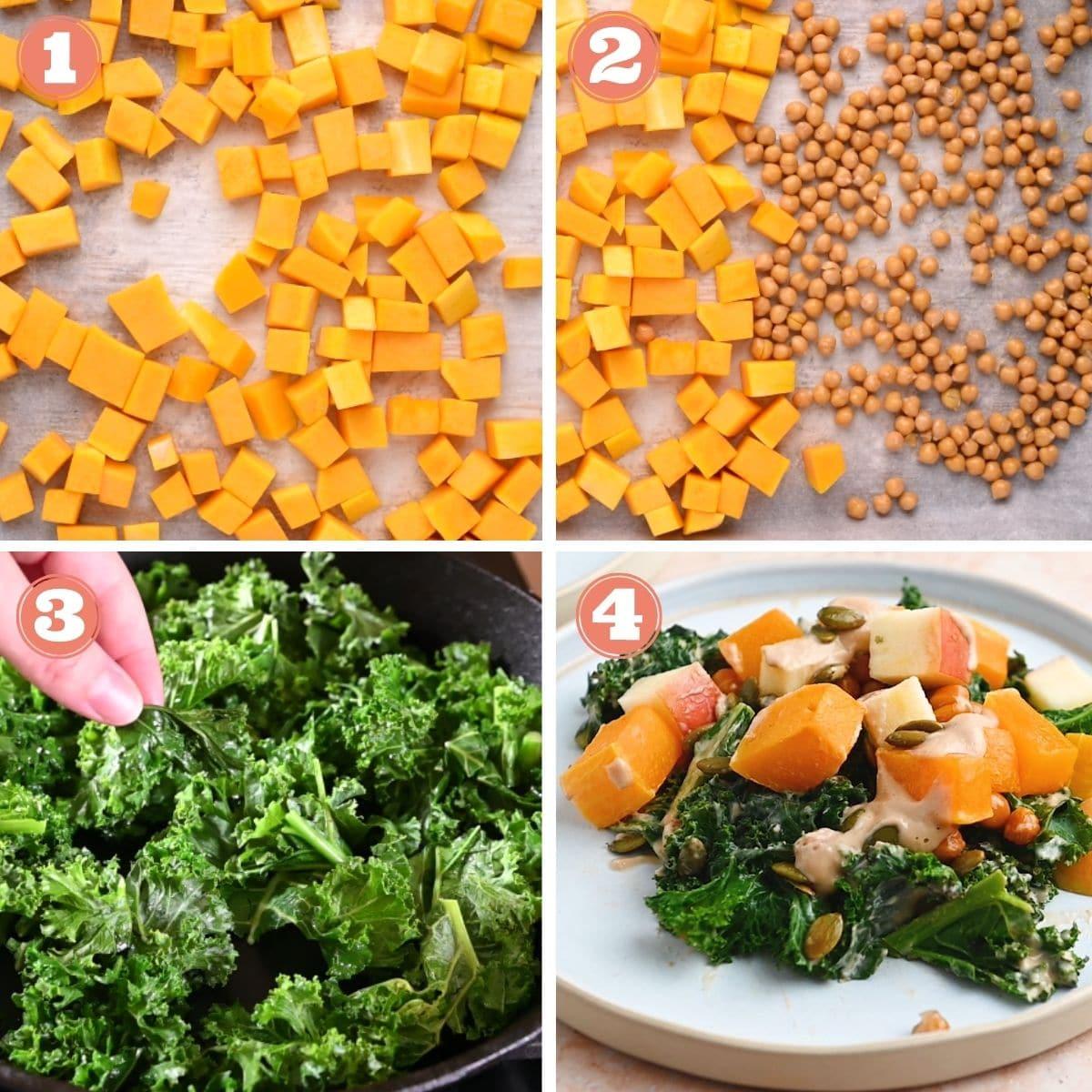 Steps 1 throug h 4 to make kale salad