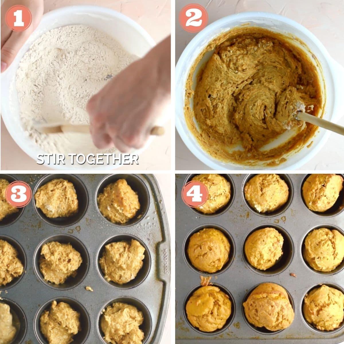 Steps 1 through 4 to make pumpkin muffins