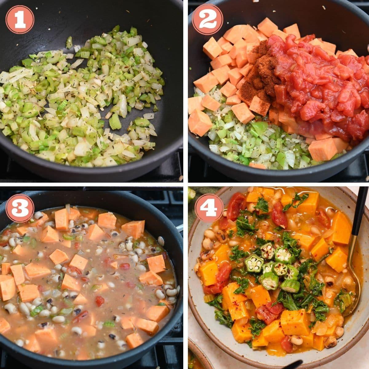Steps 1 through 4 to make sweet potato stew