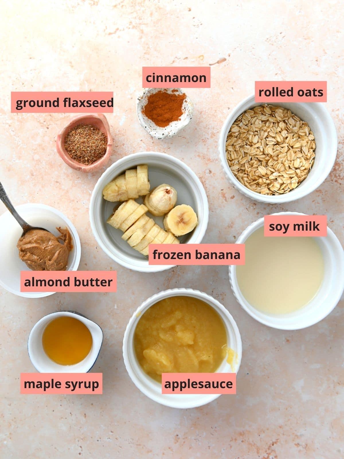 Labeled ingredients used to make apple cinnamon smoothies