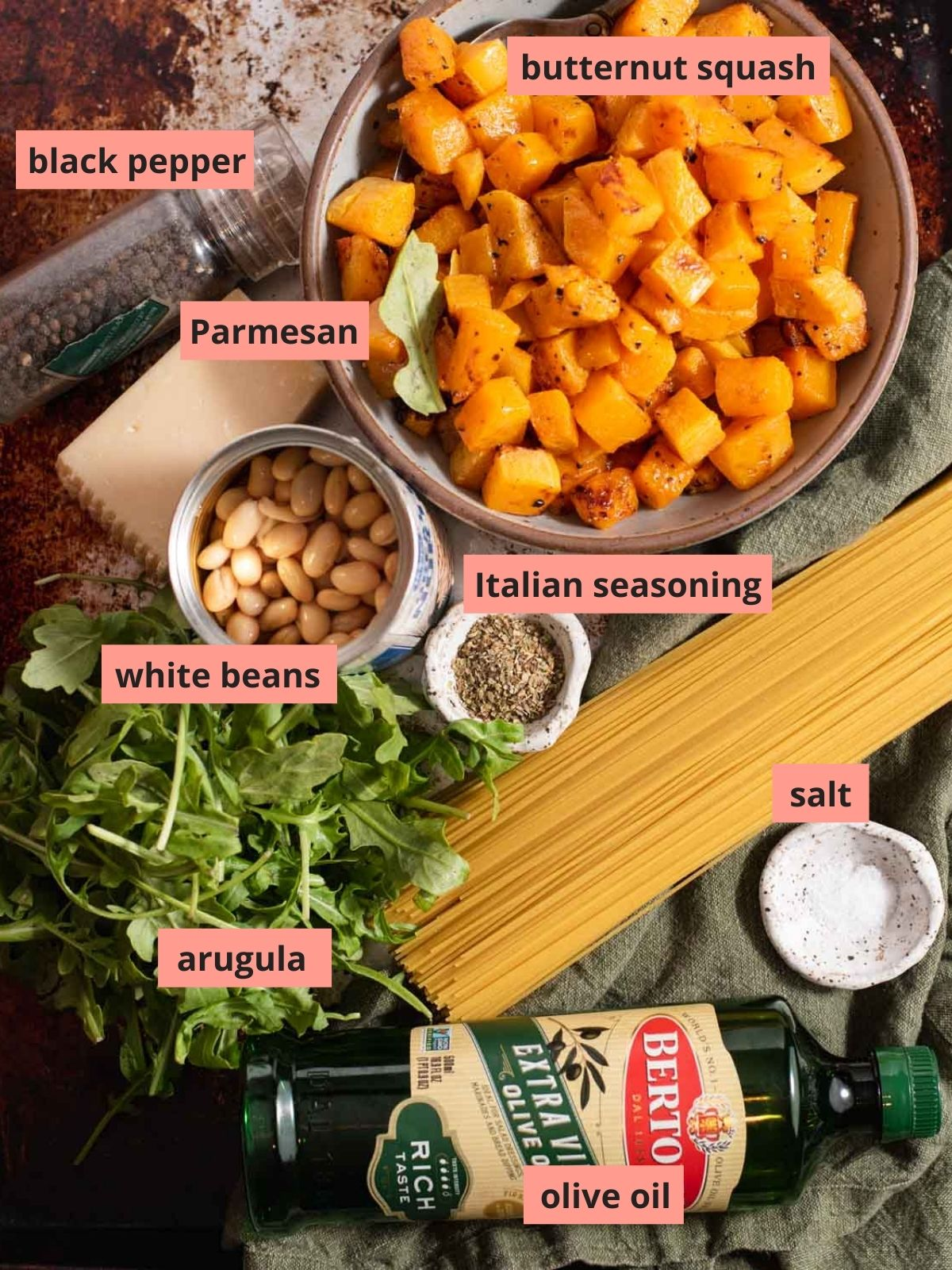 Labeled ingredients used to make butternut squash