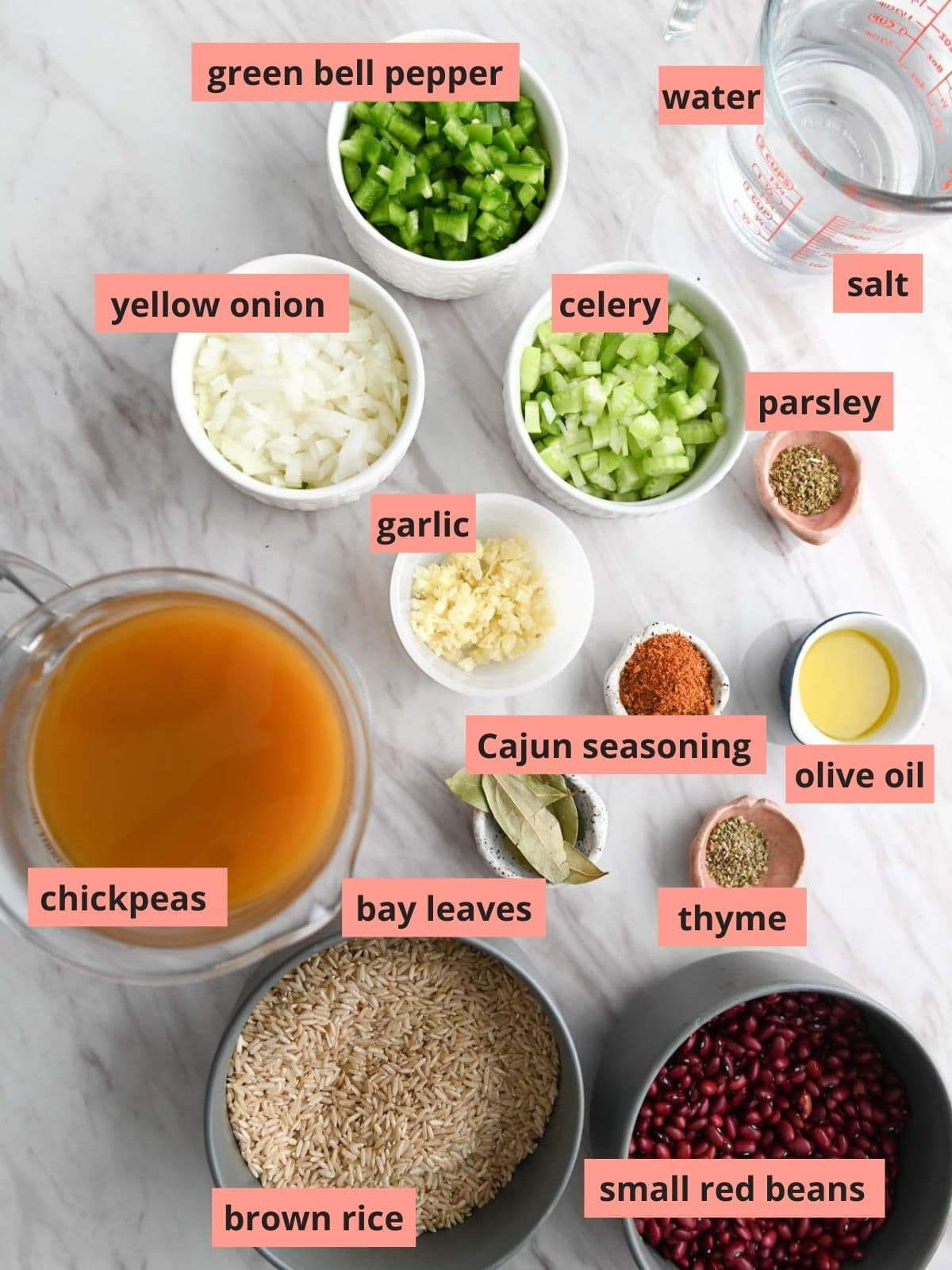 Labeled ingredients used to make instant pot rice and red beans
