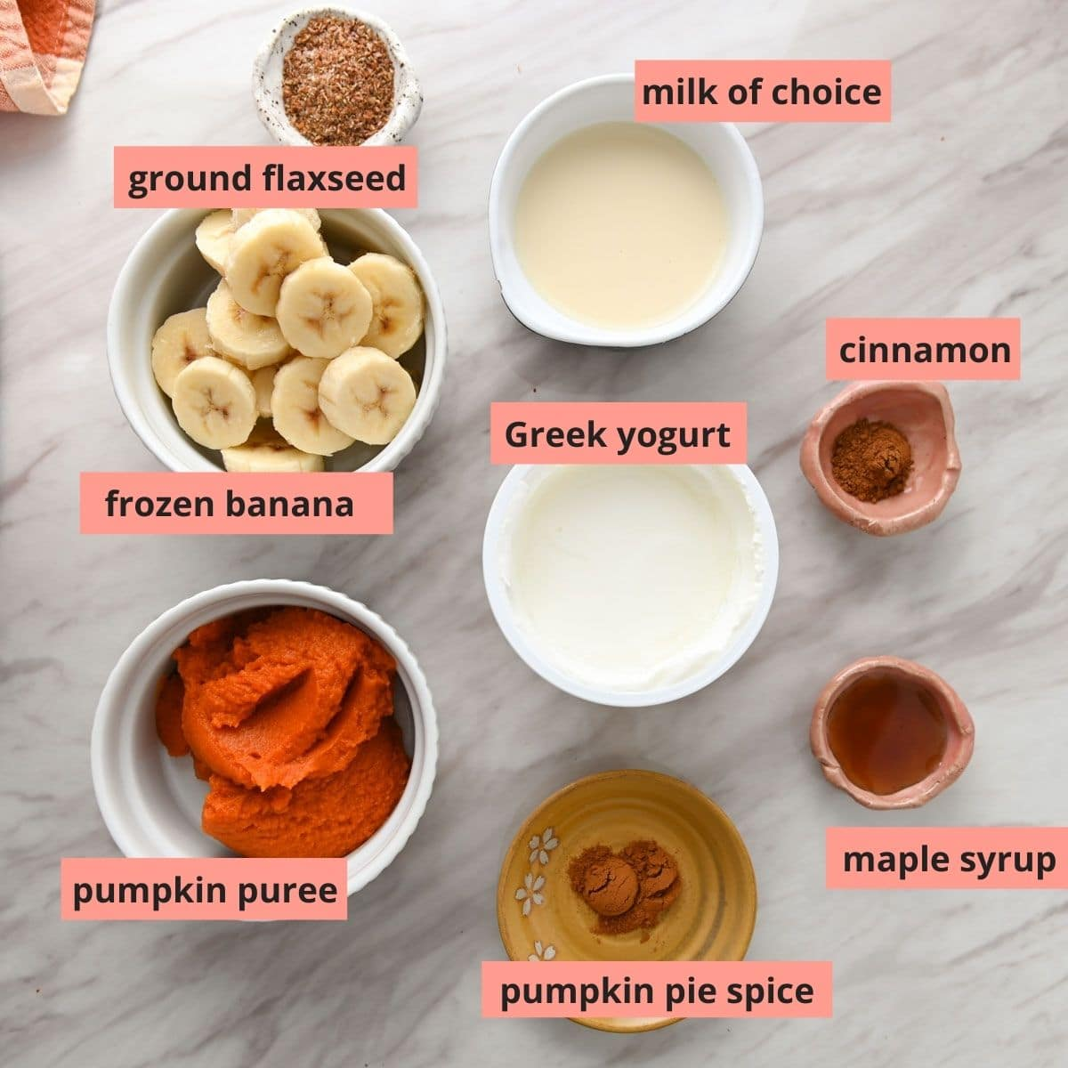 Labeled ingredients used to make pumpkin smoothie