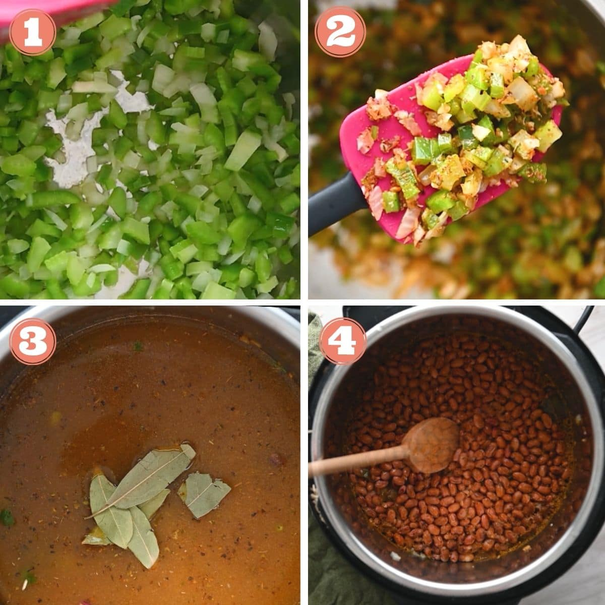 Steps 1 through 4 to make instant pot rice and beans