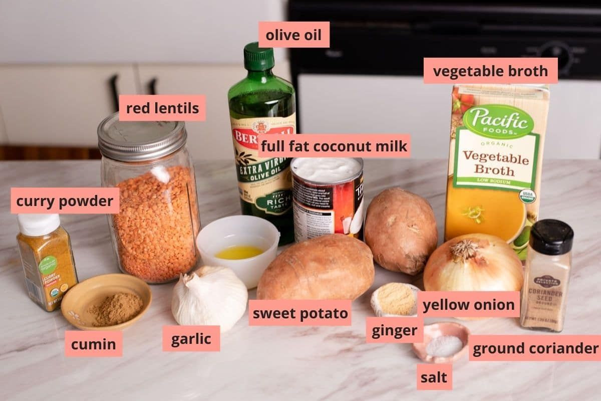 Labeled ingredients used to make red lentil curry