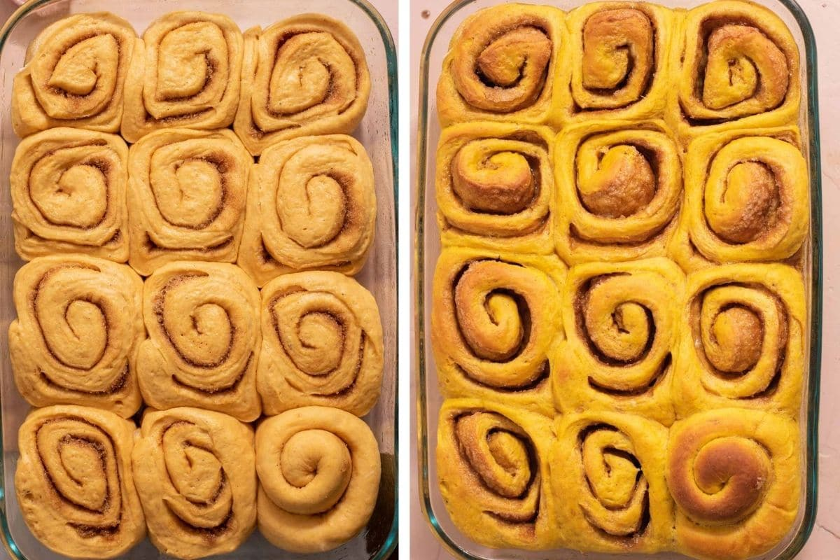 Pumpkin cinnamon rolls in a baking dish before and after baking