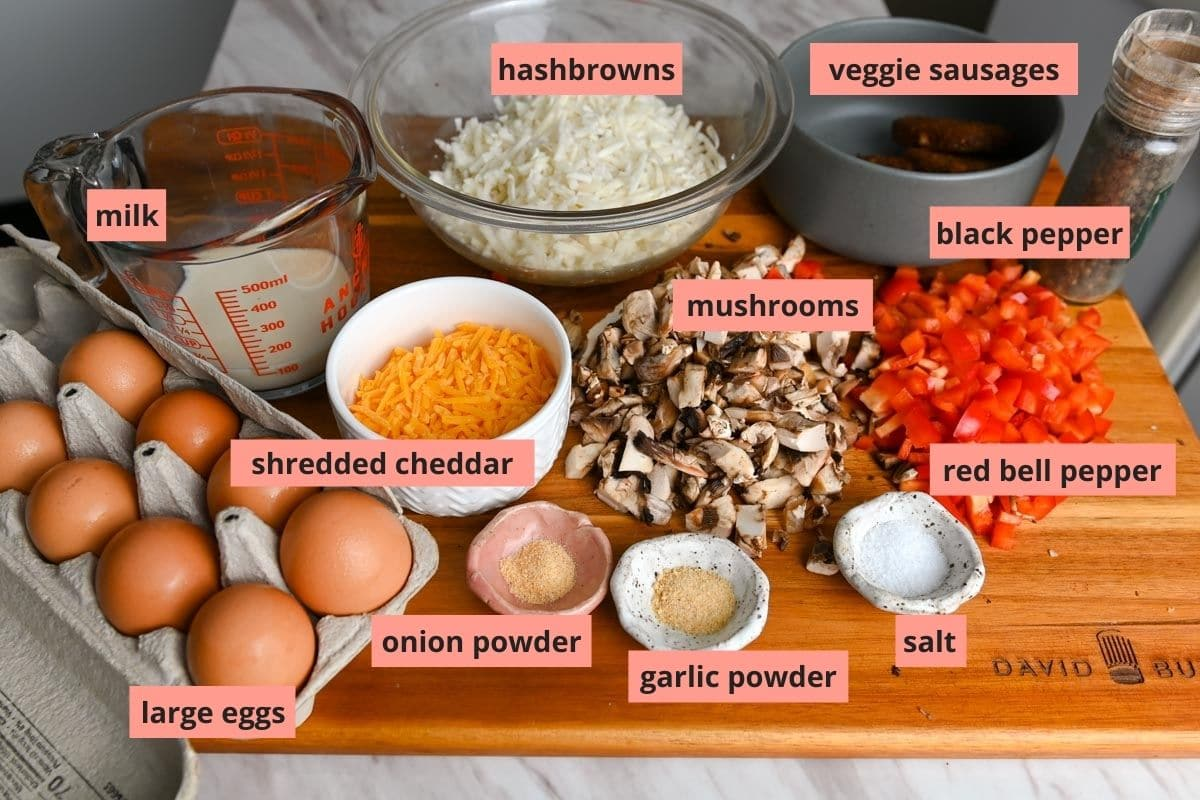 Labeled ingredients used to make breakfast casserole