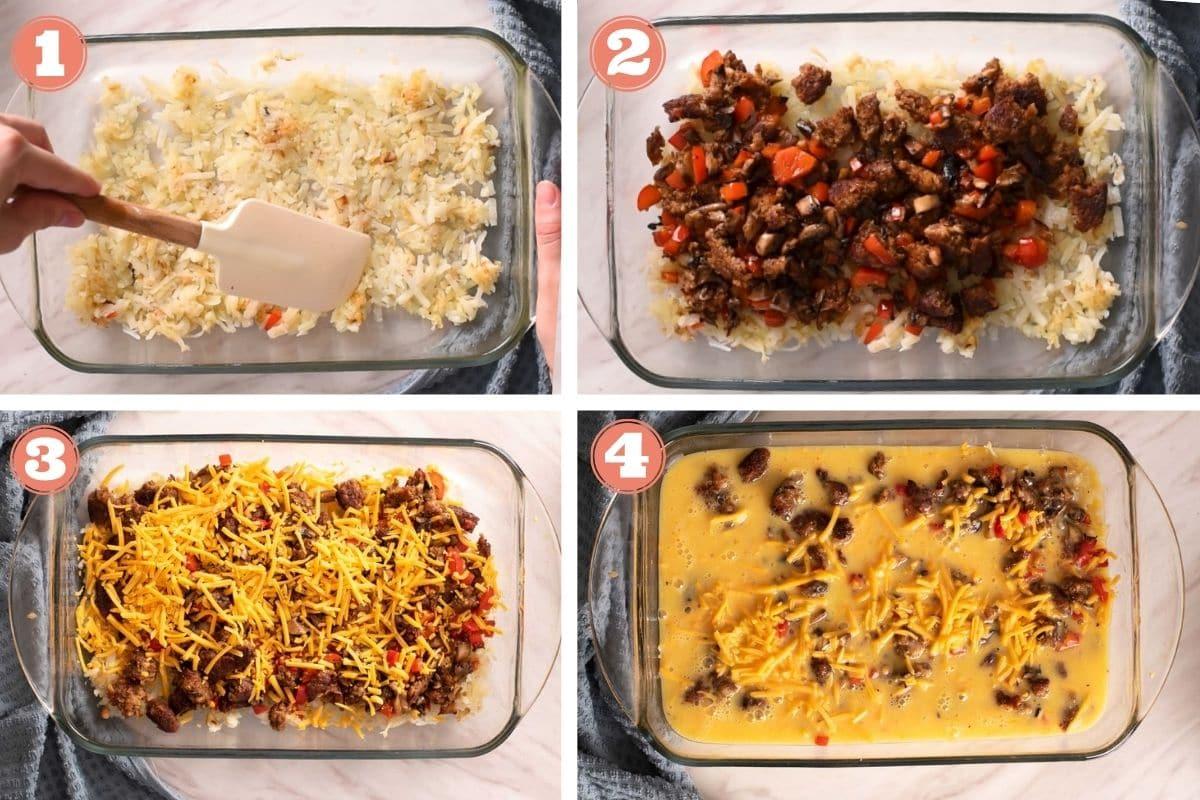 Steps 1 through 4 to make breakfast egg casserole