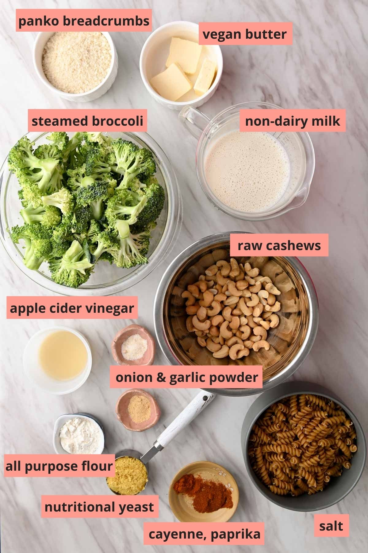 Labeled ingredients used to make vegan broccoli mac and cheese