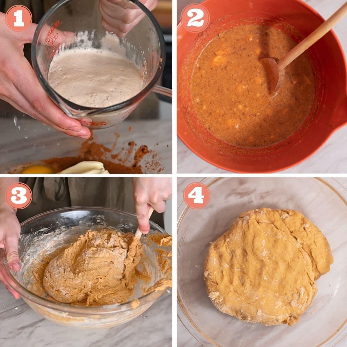 Steps 1 through 4 to make pumpkin cinnamon roll dough