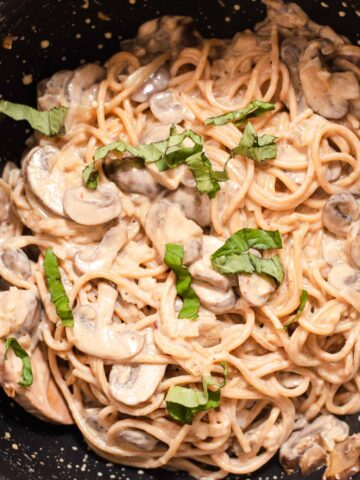 Close up of fettucine coated in a creamy white sauce with basil on top