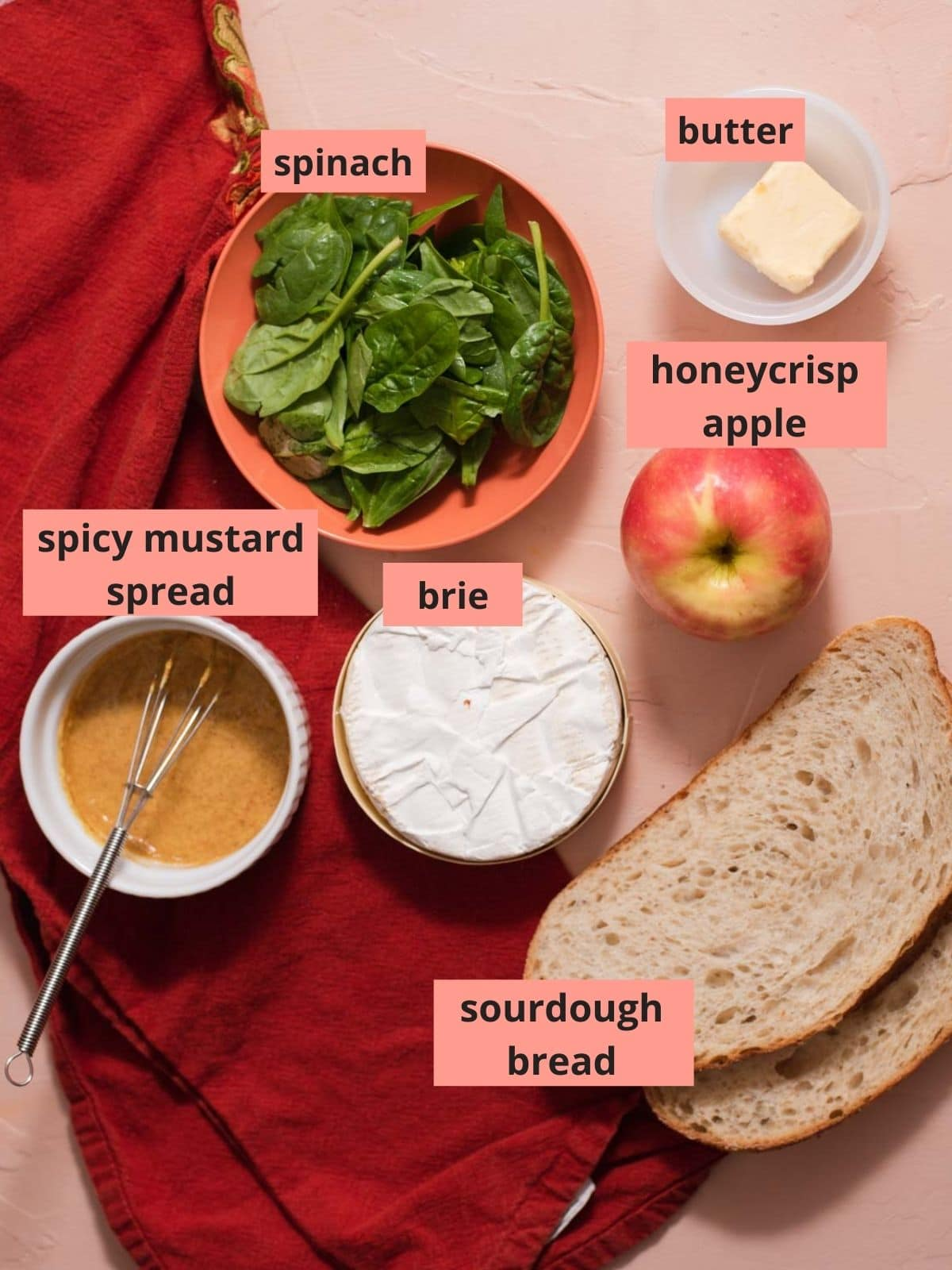 Labeled ingredients used to make grilled cheese