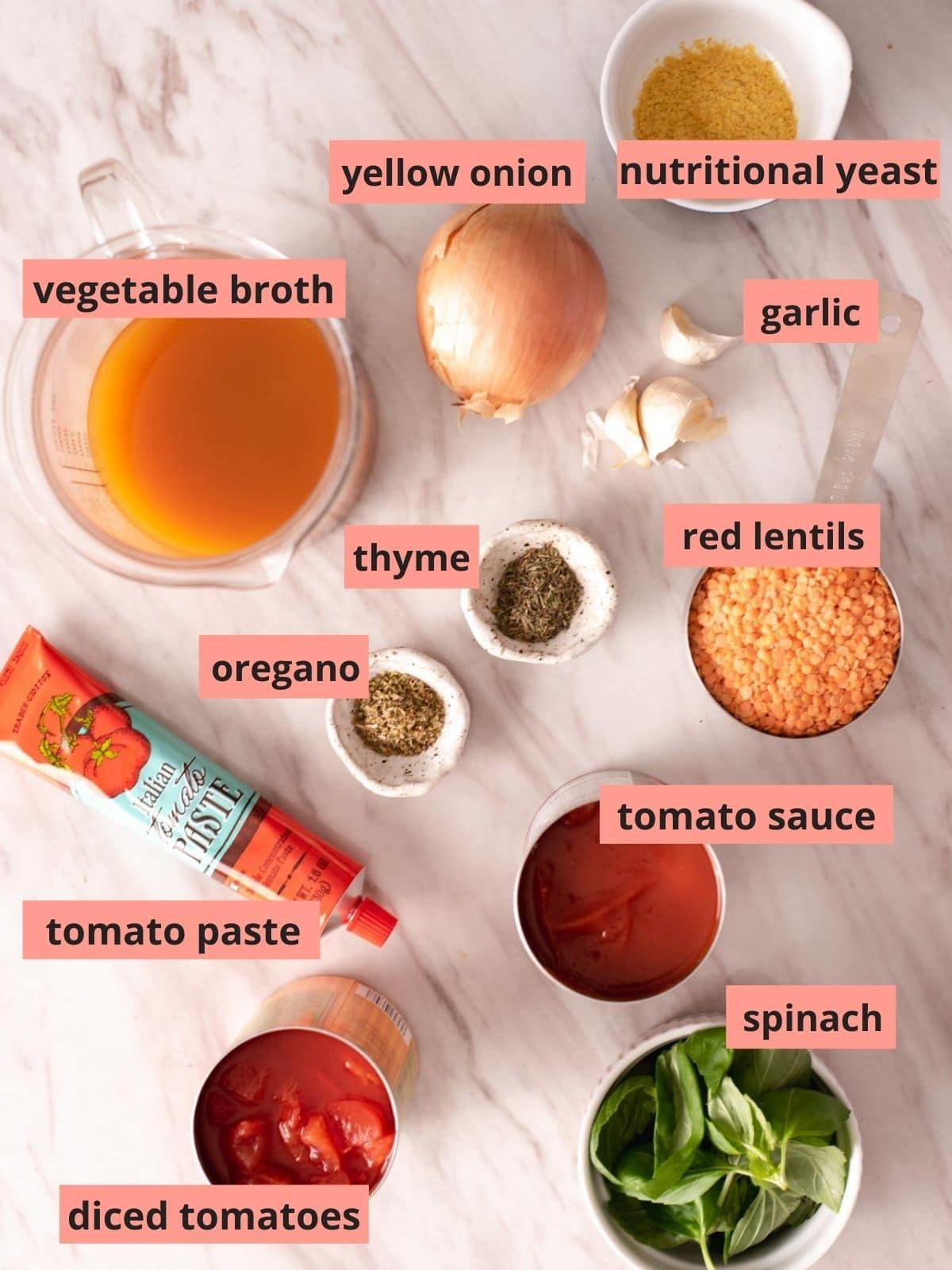 Labeled ingredients used to make lentil pasta