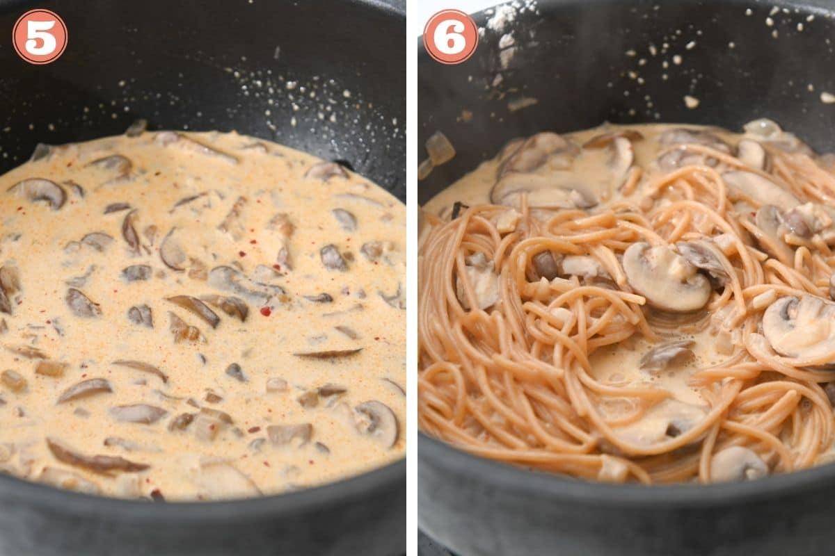 Steps 5 and 6 to make mushroom pasta