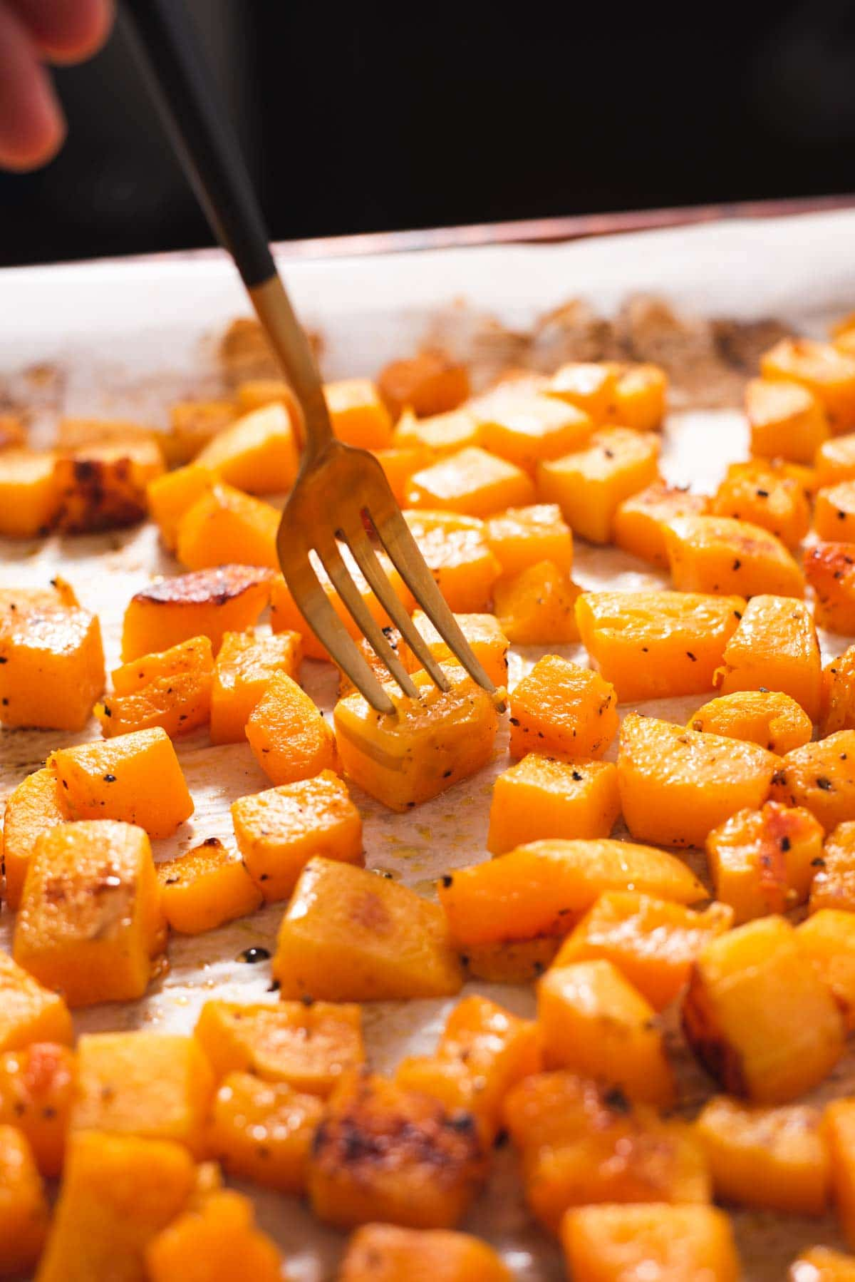 Gold fork piercing a piece of roasted butternut squash next to more squash