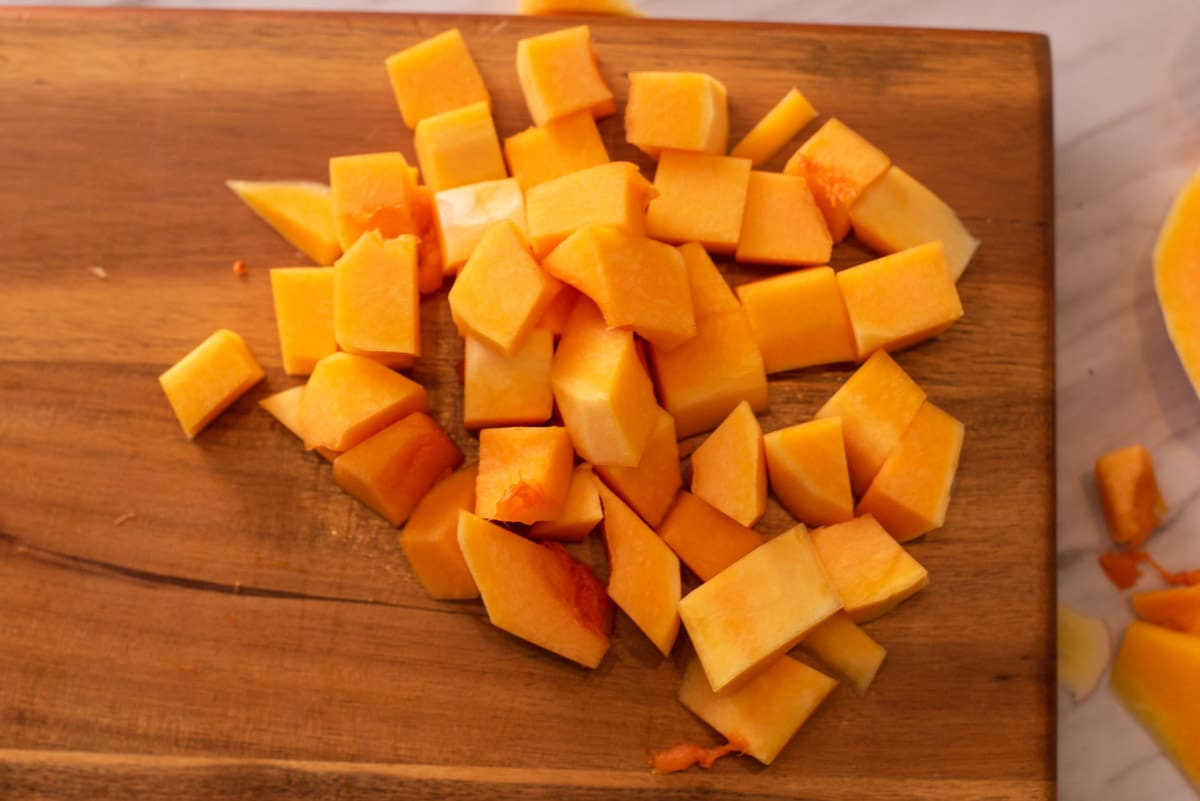 Pile of one inch pieces of butternut squash