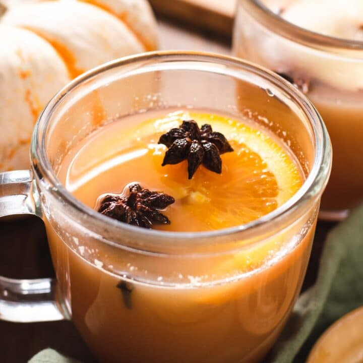 Glass mug filled with an orange slice, star anise and cider with a pumpkin in the background