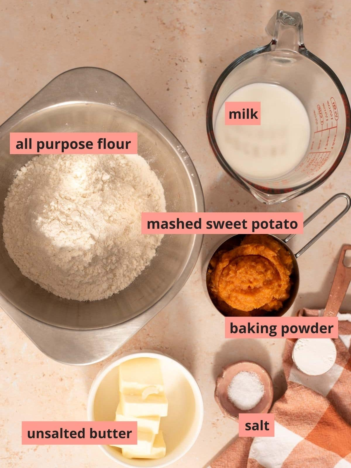 Labeled ingredients used to make sweet potato biscuits