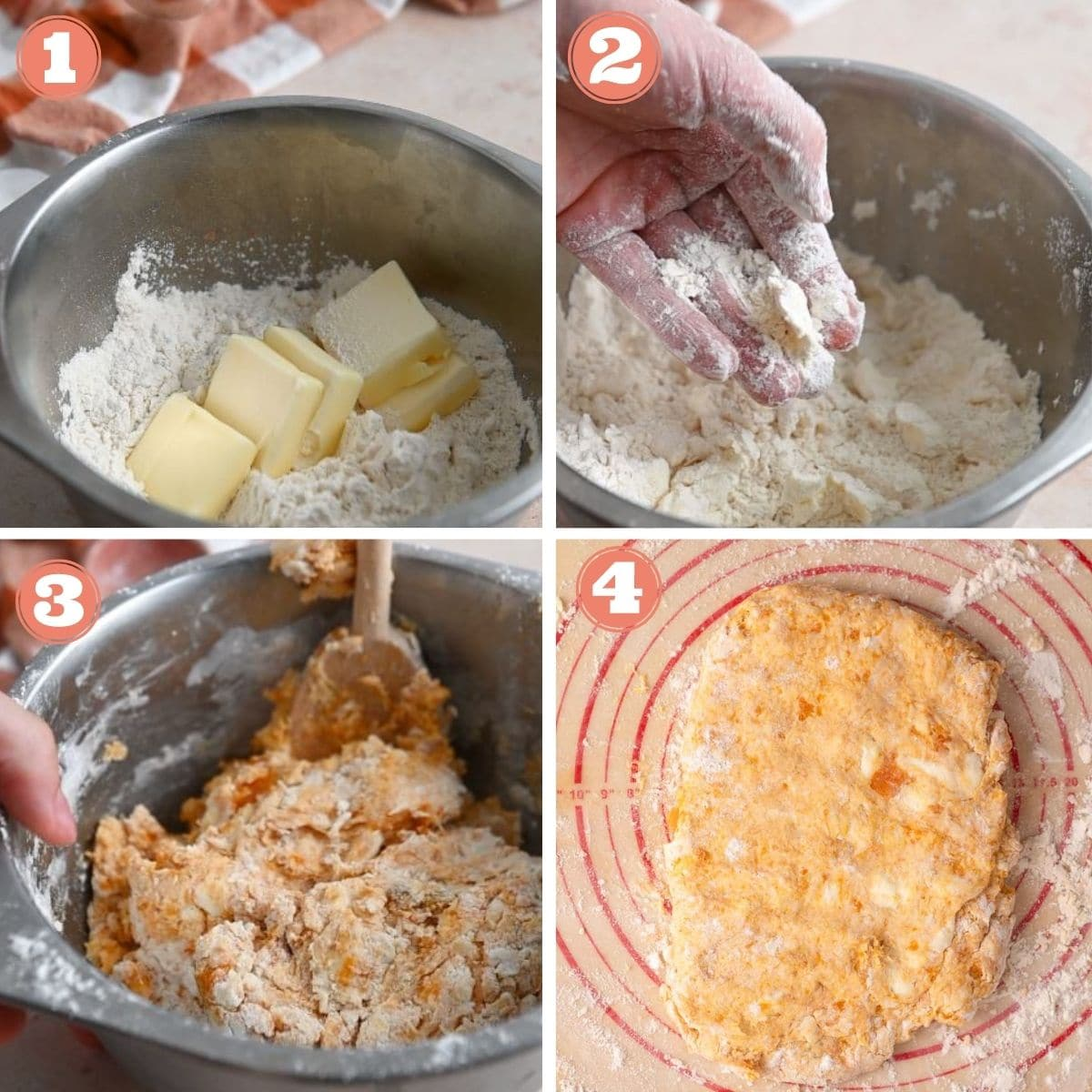Steps 1 through 4 to make biscuits